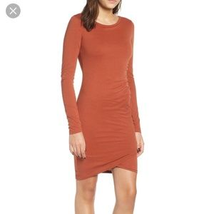 Leith Ruched Long Sleeve Dress - Brown Spice
